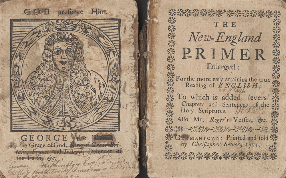 The New-England Primer Enlarged, frontispiece and title-page