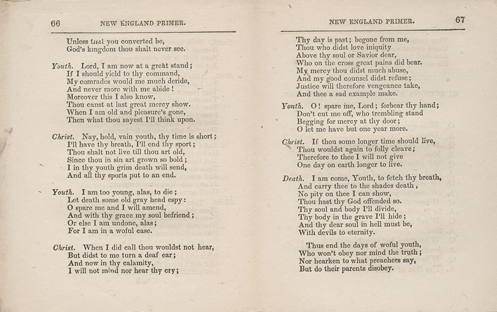 The New England Primer, Improved, pages 66-67