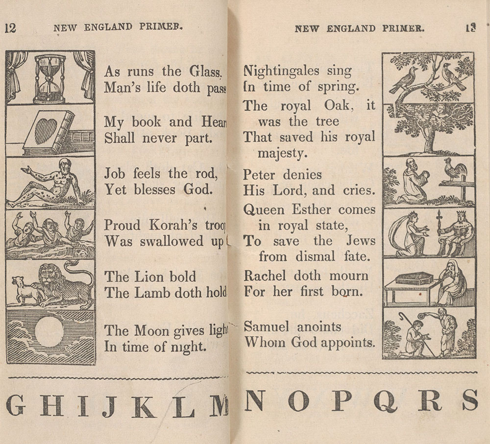 The New England Primer, pages 12-13