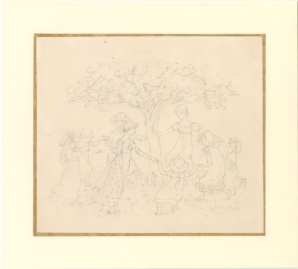 Drawing of eight girls holding hands and dancing around a tree