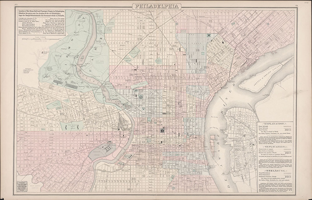Philadelphia [Steam & Horse Railroads and Depots], 1878, Map