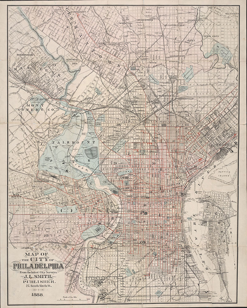 New Map of the City of Philadelphia, 1888, Map