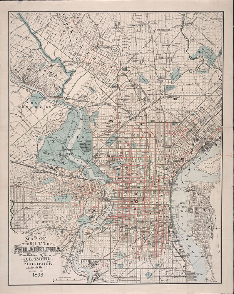 New Map of the City of Philadelphia, 1893, Map