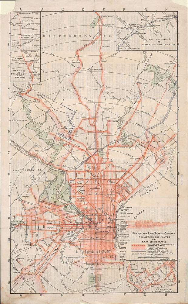 Trolley and Bus Routes and Sight Seeing Places [Philadelphia, PA], 1925, Map