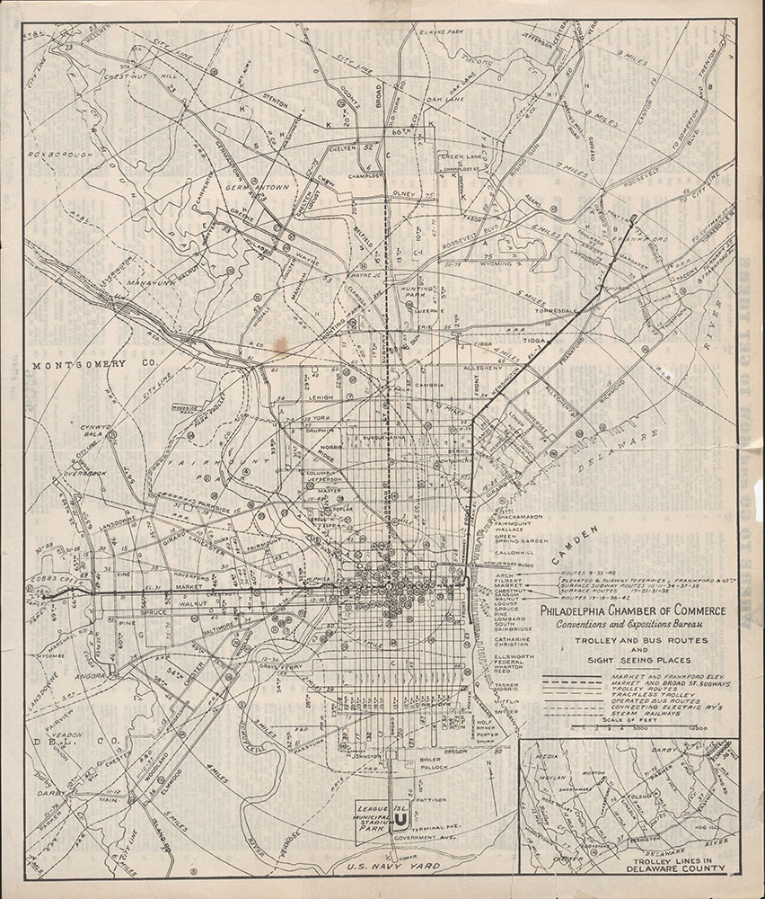 Trolley and Bus Routes and Sight Seeing Places [Philadelphia, PA], c. 1927, Map