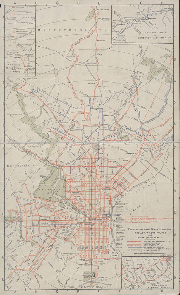 Philadelphia Rapid Transit Company Trolley and Bus Routes and Sight Seeing Places [Philadelphia, PA], 1927, Map