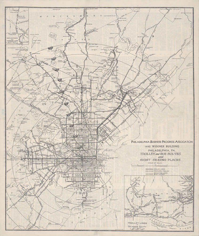 Philadelphia Business Progress Association Trolley and Bus Routes, 1930, Map