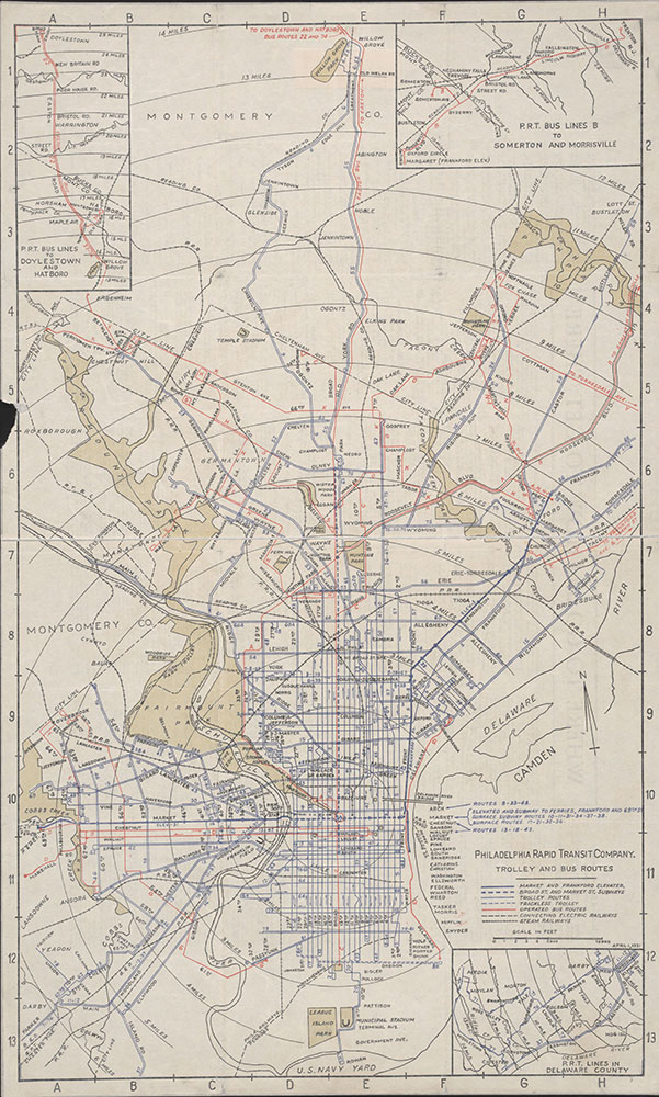 Philadelphia Rapid Transit Company Trolley and Bus Routes, 1931, Map