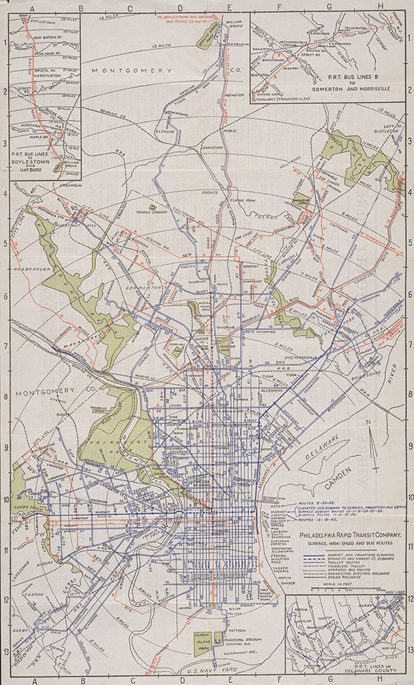 Philadelphia Rapid Transit Company. Surface High Speed and Bus Routes, 1932, Map