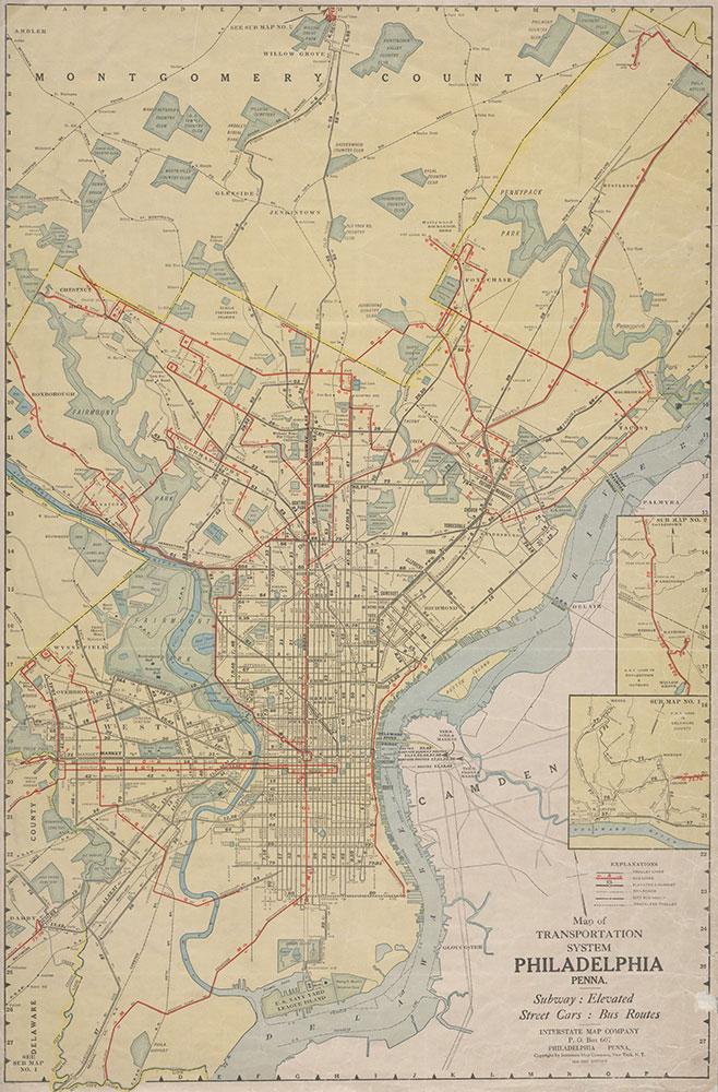 Map of Transportation System, Philadelphia, Penna., 1934-1935, Map
