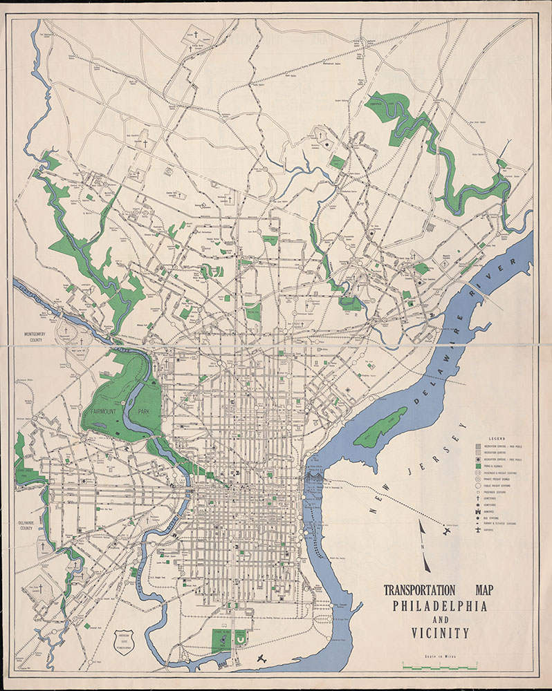 Transportation Map: Philadelphia and Vicinity, 1937, Map