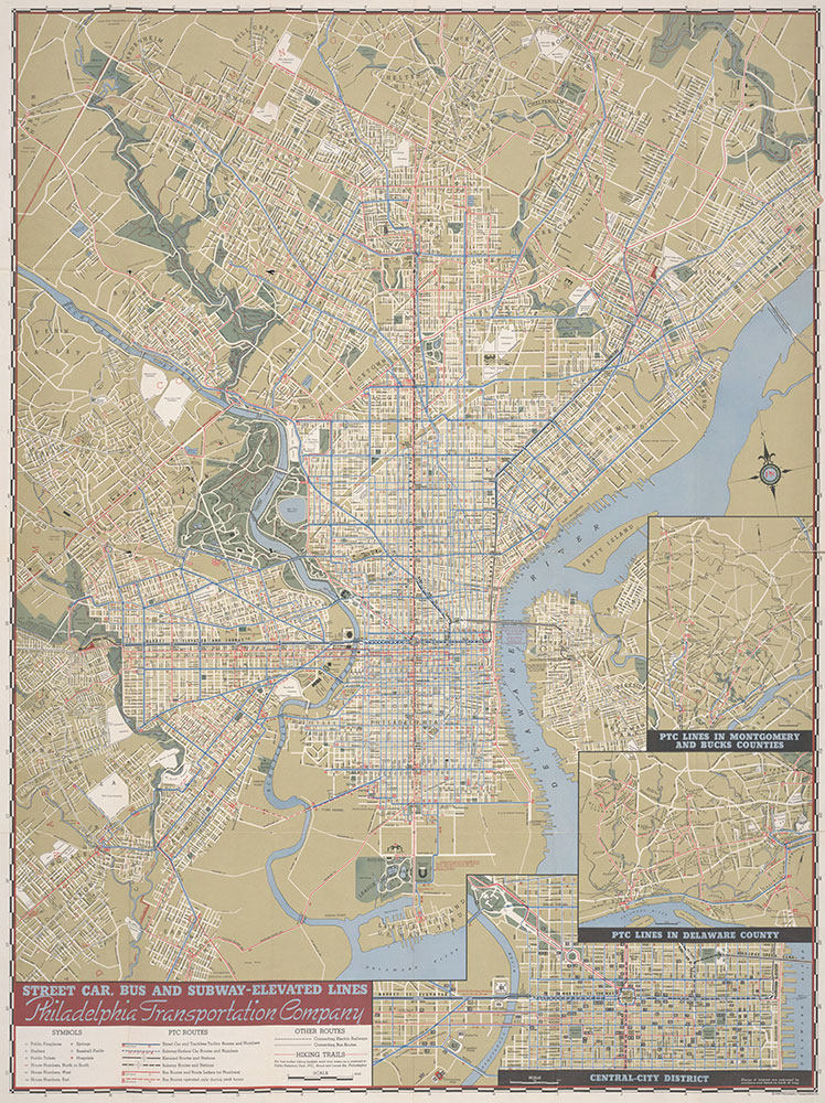 Philadelphia Transportation Company, Street Car, Bus and Subway-Elevated Lines, 1940, Map