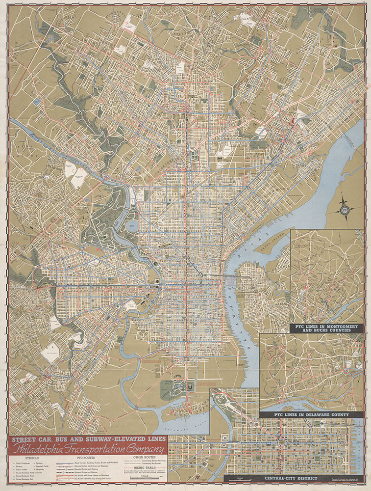 PTC Map of Philadelphia Showing Street Car, Bus and Subway-Elevated Lines, 1941, Map