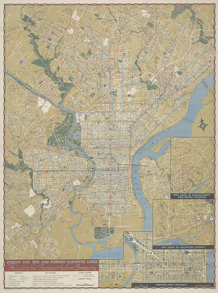 Philadelphia Transportation Company, Street Car, Bus and Subway-Elevated Lines, 1943, Map,