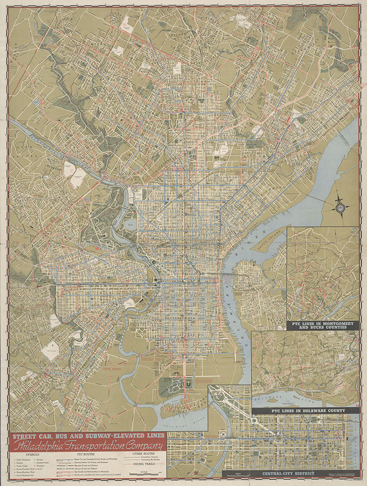 PTC Map of Philadelphia Showing Street Car, Bus and Subway-Elevated Lines, 1944, Map