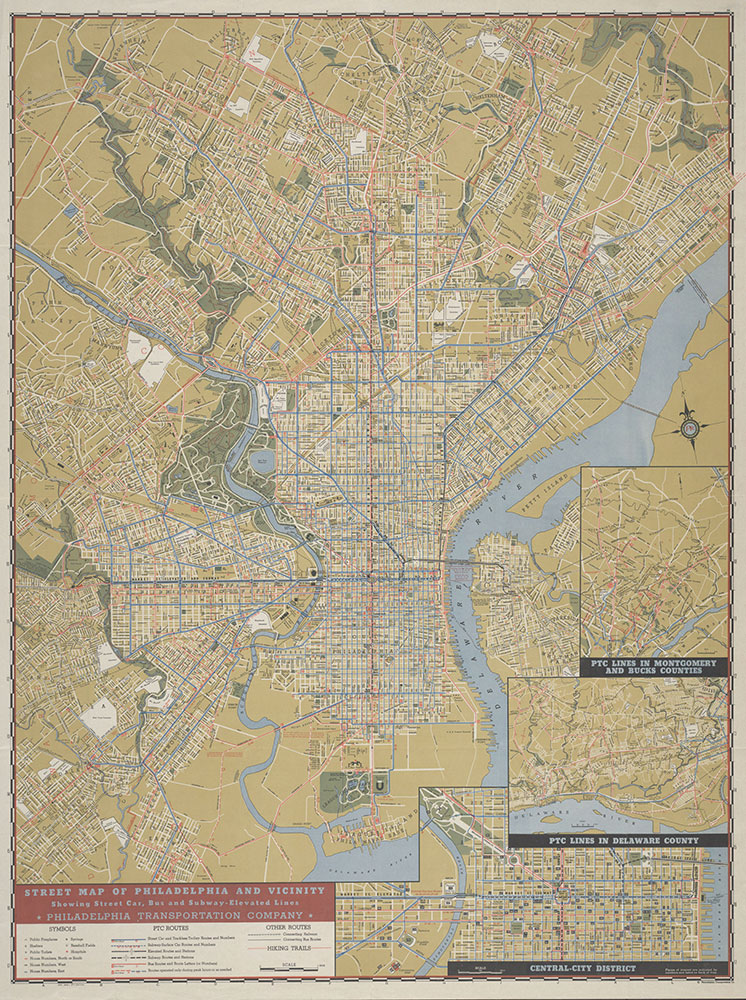 Street Map of Philadelphia and Vicinity Showing Street Car, Bus and Subway-Elevated Lines, 1946, Map