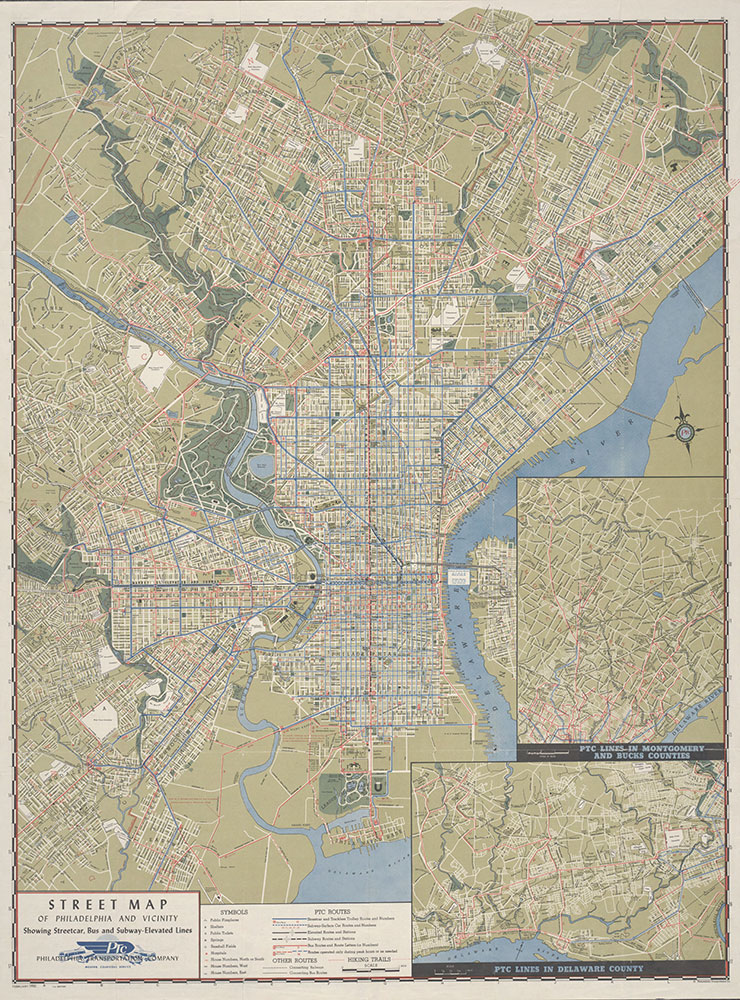 Street Map of Philadelphia and Vicinity Showing Street Car, Bus and Subway-Elevated Lines, 1951, Map