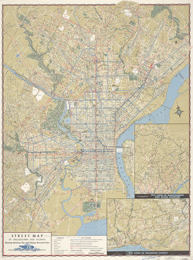 Street Map of Philadelphia and Vicinity Showing Street Car, Bus and Subway-Elevated Lines, 1952, Map