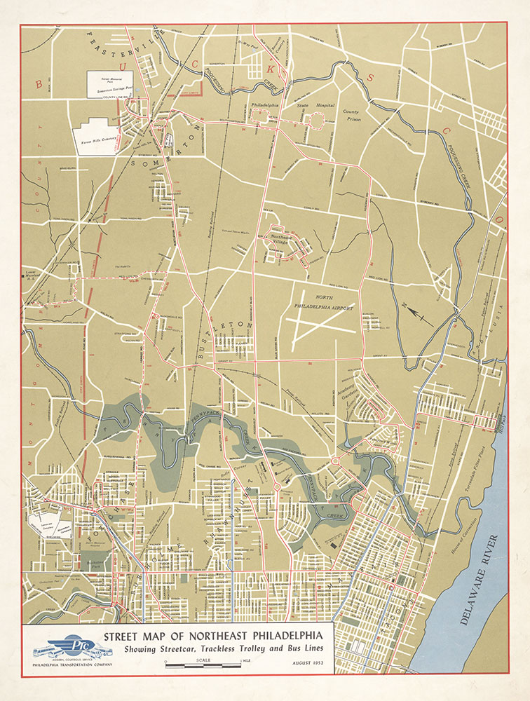 Street Map of Northeast Philadelphia Showing Streetcar, Trackless Trolley and Bus Lines, 1952, Map