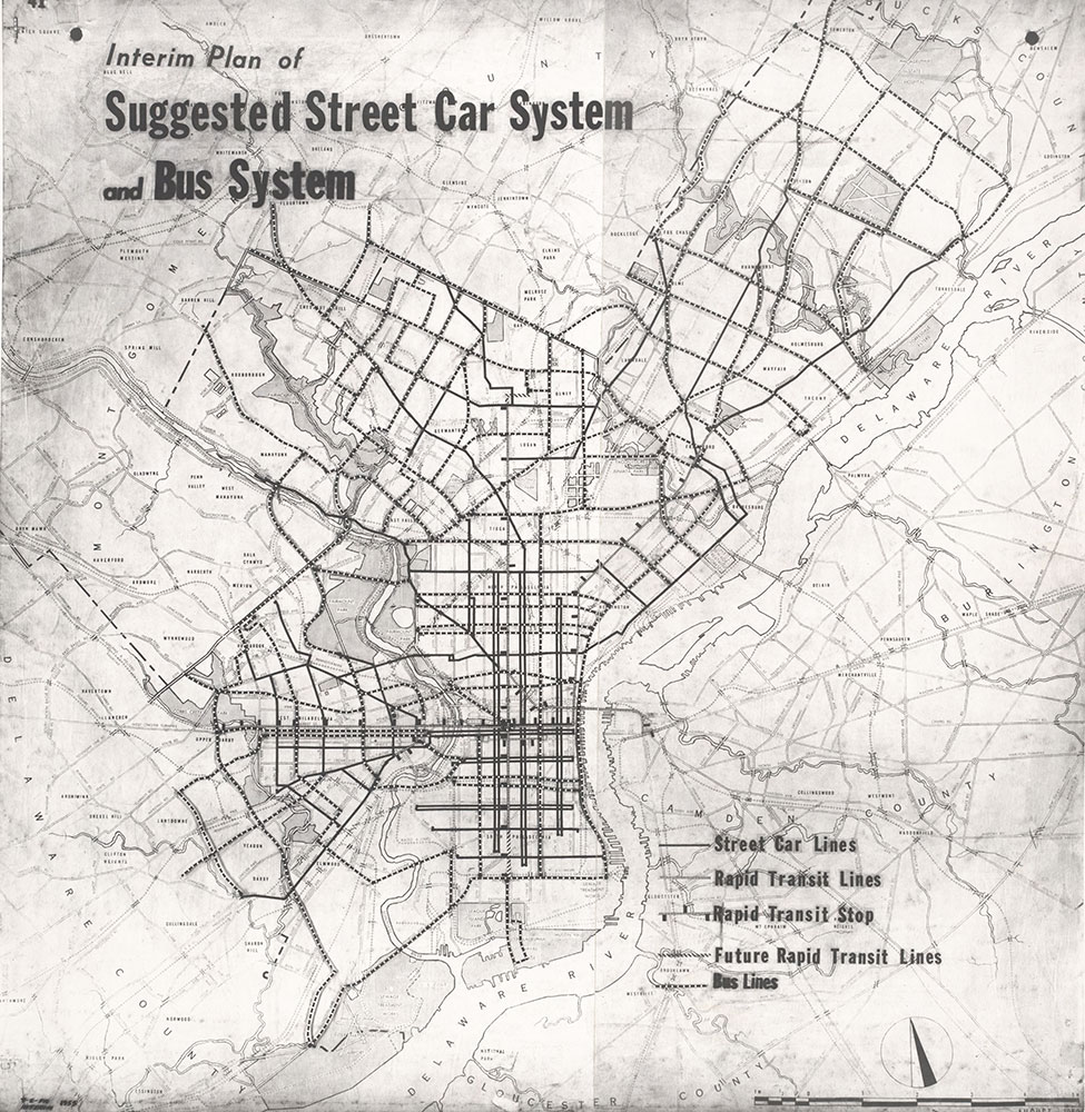 Interim Plan of Suggested Street Car System and Bus Routes [Philadelphia, PA], 1955, Map