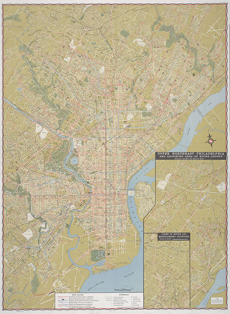 historic map of philadelphia Street And Transit Map Of Historical Philadelphia Showing Bus historic map of philadelphia