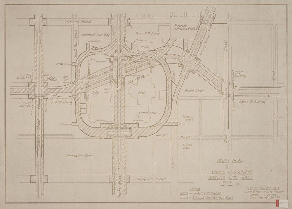 Philadelphia Department of City Transit. Study Plan of Public Concourse Around City Hall, 1924, Map
