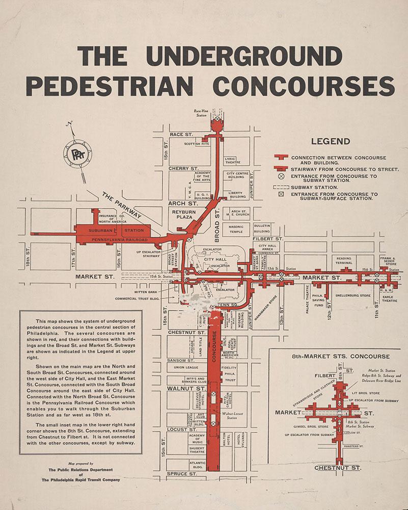 Philadelphia Rapid Transit Company. The Underground Pedestrian Concourses, [1936?], Map