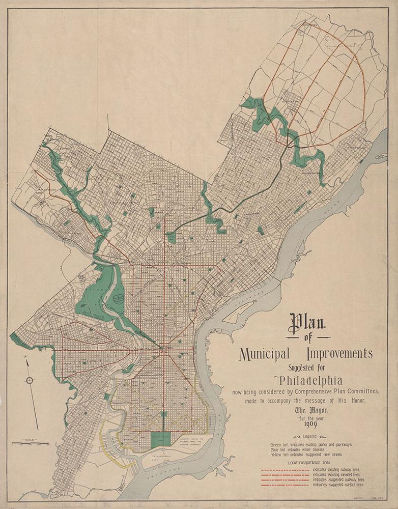 Plan of Municipal [Transit] Improvements Suggested For Philadelphia, 1910, Map