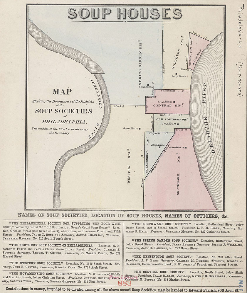 Soup Houses: Map Shewing the Boundaries of the Districts of the Soup Societies of Philadelphia, [1862?], Map