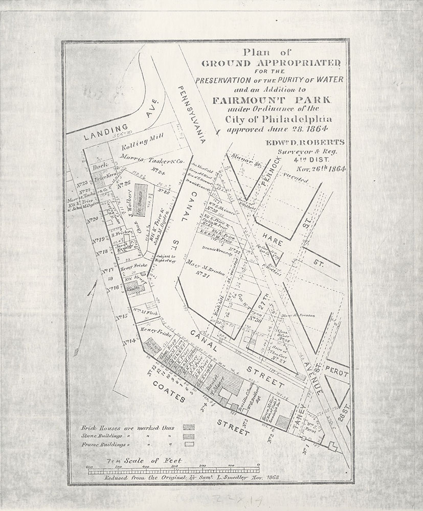 Plan of Ground Appropriated For the Preservation of the Purity of Water and an Addition to Fairmount Park, 1864, Map