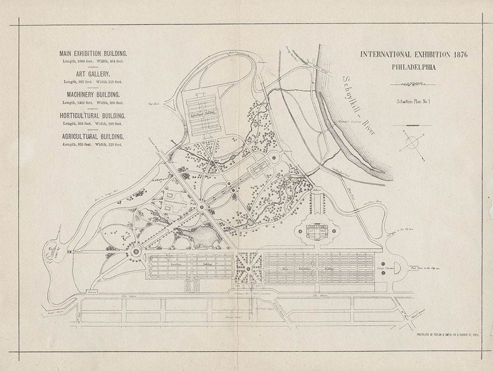 International Exhibition, Philadelphia, Situation Plan No. 1, 1876, Philadelphia, Map