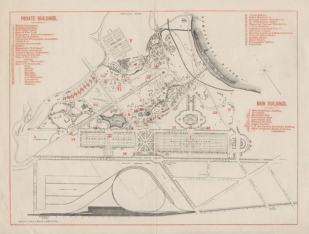 [Centennial Exhibition, Main Buildings and Private Buildings], [1876], Map
