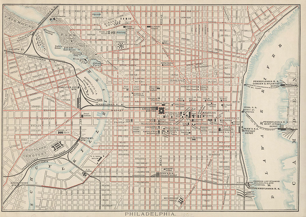 [Central Philadelphia and the Pennsylvania Railroad], [1892], Map