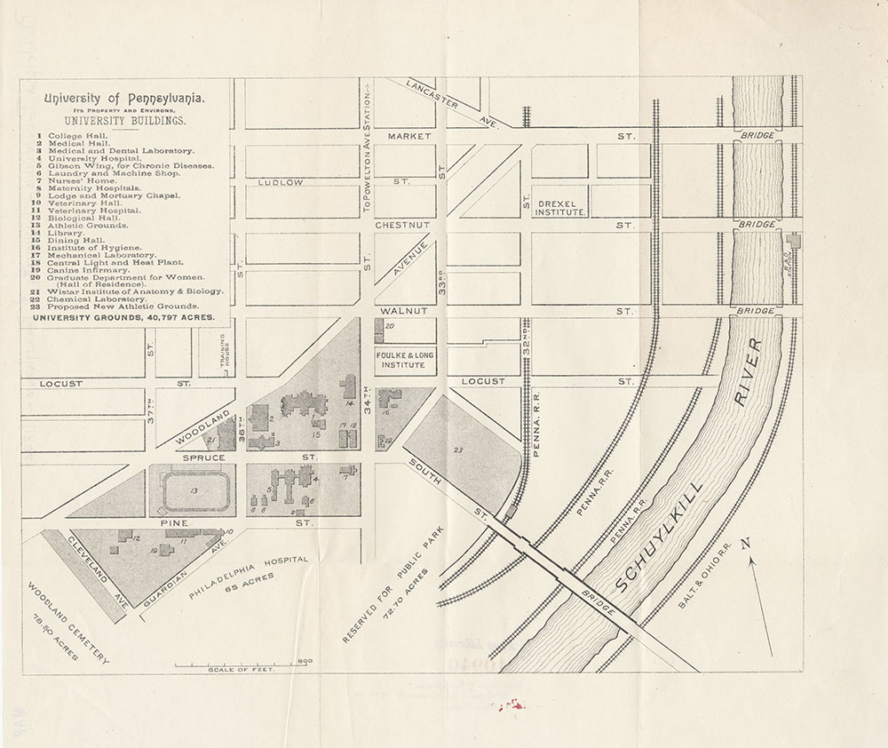 University of Pennsylvania, Its Property and Environs, University Buildings, 1894, Map