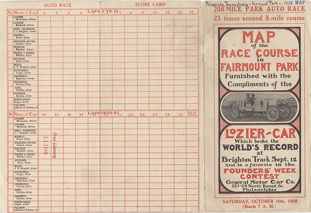 Map of the Race Course in Fairmount Park, 1908, Score Card