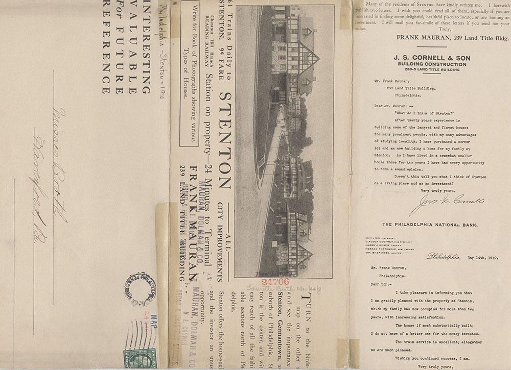 Stenton: Center of All Important Suburban Places Surrounding Philadelphia, 1910, Brochure [verso]