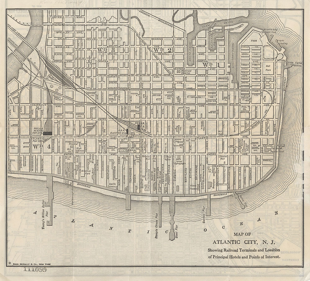 Map of Atlantic City, N.J. Showing Railroad Terminals and Location of Principal Hotels and Points of Interest, c.1920, Map