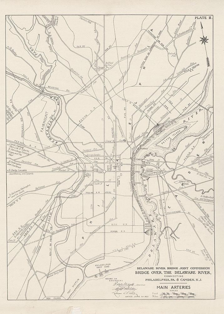 Bridge Over the Delaware River Connecting Philadelphia, PA & Camden N.J., Main Arteries, 1928, Map
