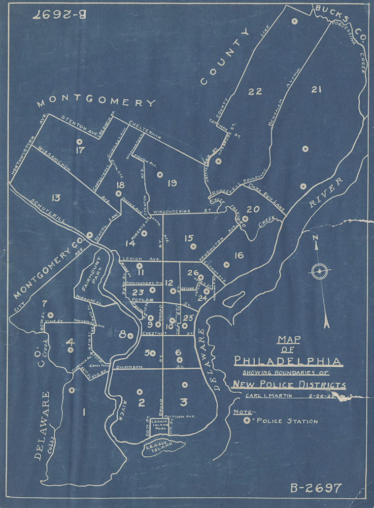 Map of Philadelphia Showing Boundaries of New Police Districts, 1925, Map