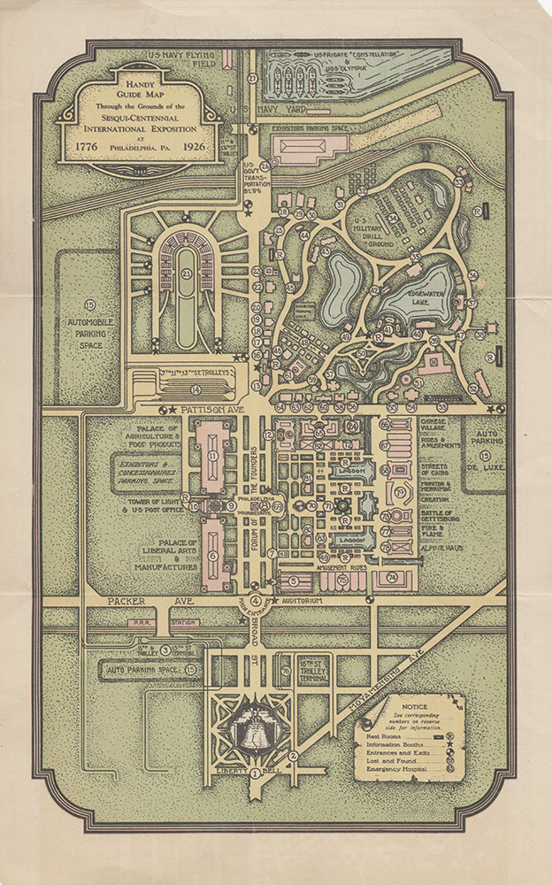 Handy Guide Map Through the Grounds of the Sesqui-Centennial International Exposition at Philadelphia, Pa. [recto], 1926, Map