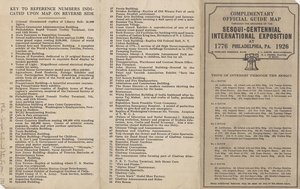 Through the Grounds of the Sesqui-Centennial International Exposition at Philadelphia, Pa. [verso], 1926, Key