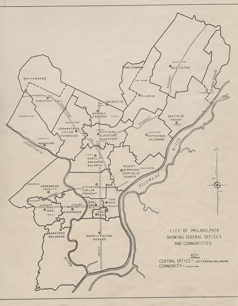 City of Philadelphia Central [Telephone] Offices & Communities, 1934, Map