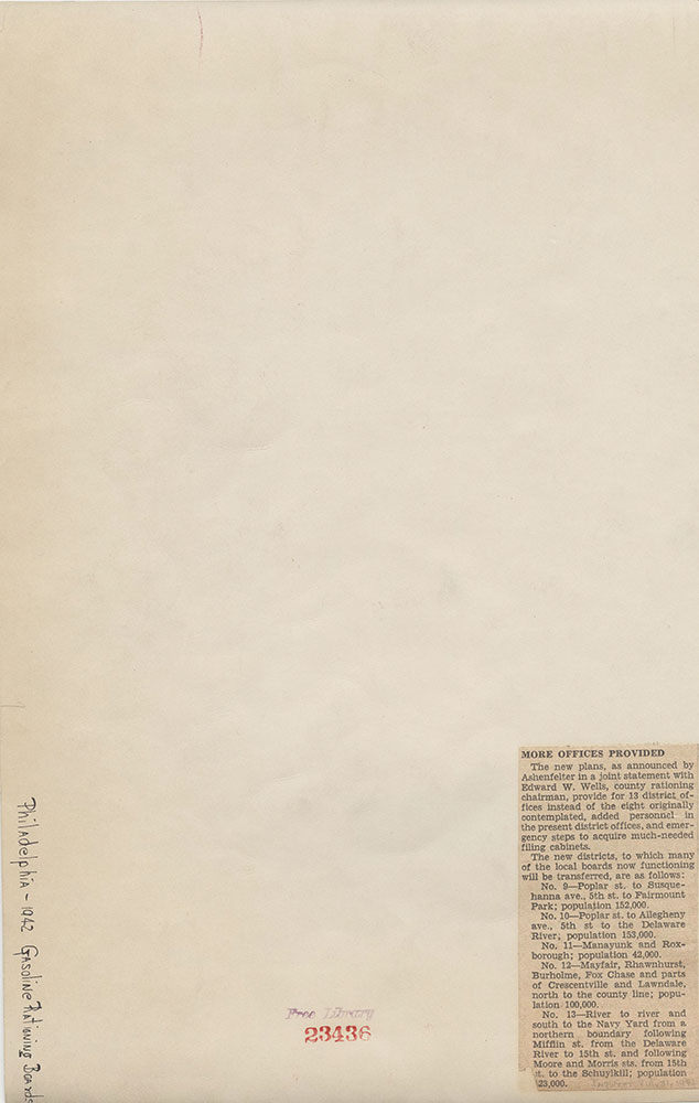Gasoline Rationing Boards [Philadelphia], 1942, supplemental List