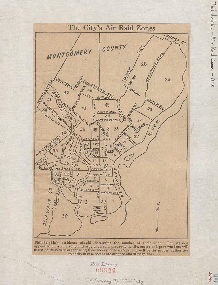Air Raid Zones [Philadelphia], 1942, Map