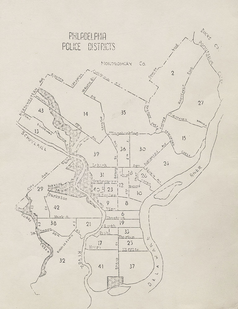 Philadelphia Police Districts, 1942, Map