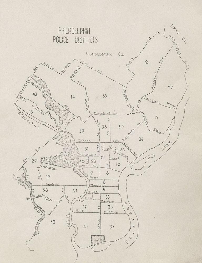 Philadelphia Police Districts, 1942, Map