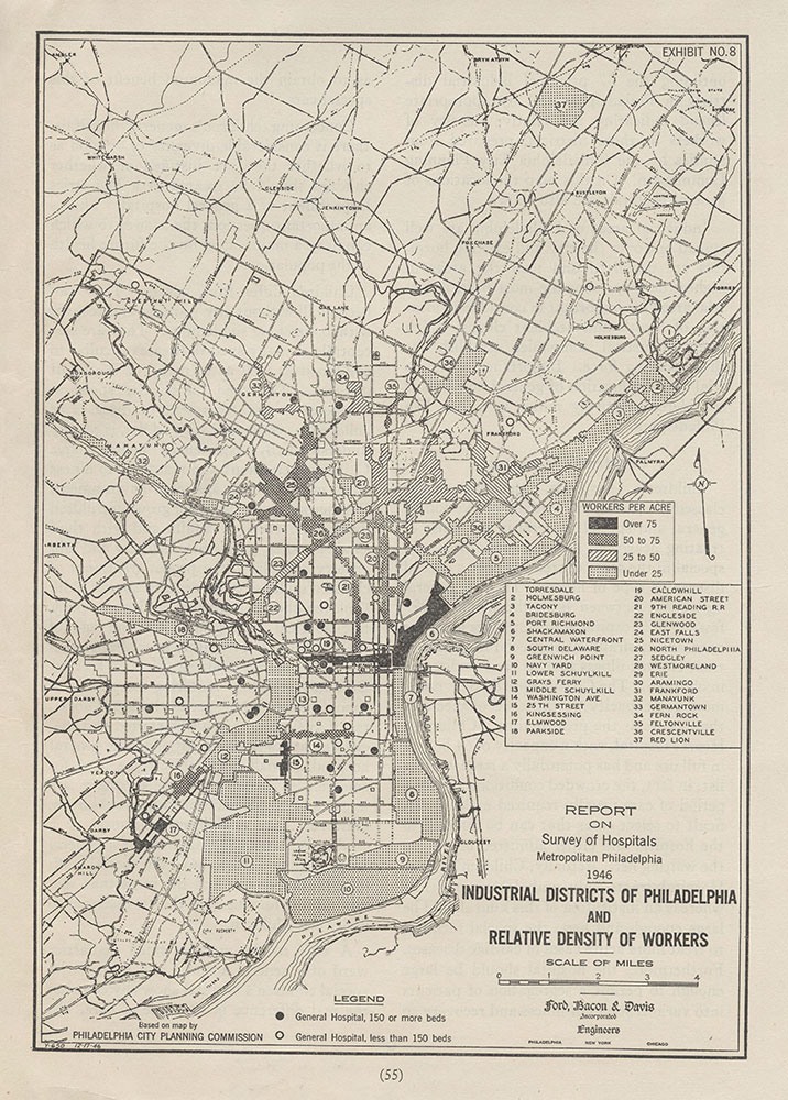 Industrial Districts of Philadelphia and Relative Density of Workers, 1946, Map