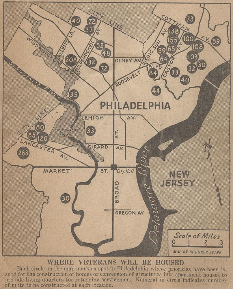 Philadelphia Veterans Housing, 1946, Map