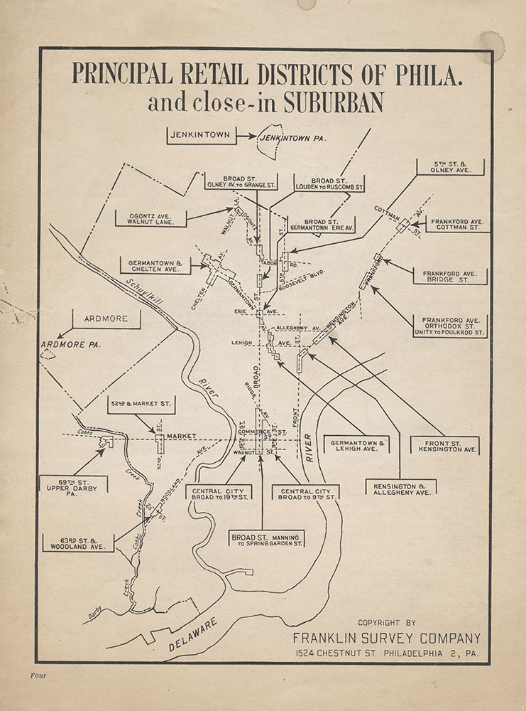 Principal Retail Districts of Phila. and Close-In Suburban, c.1950, Map