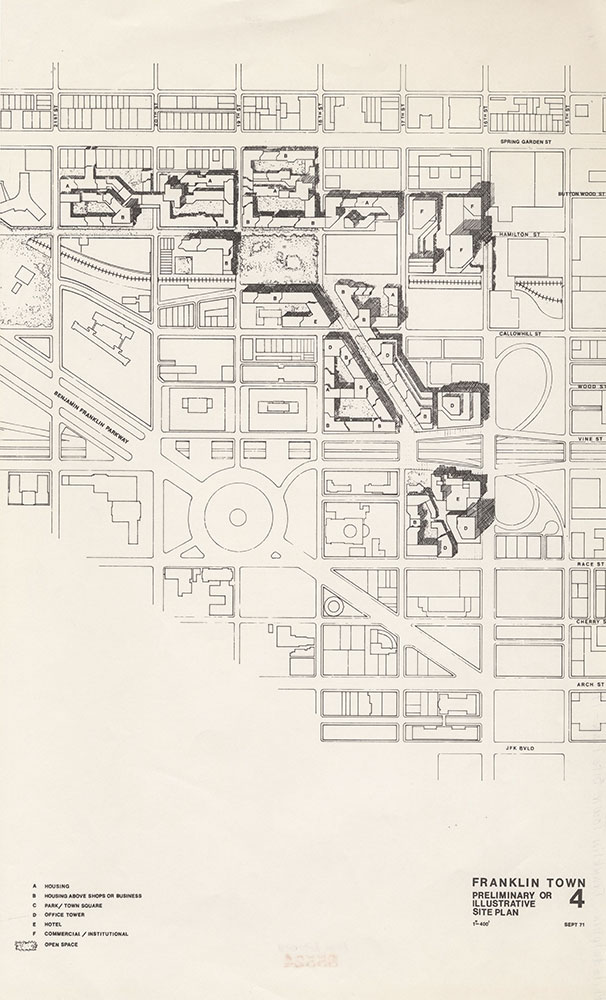 Franklin Town Preliminary or Illustrative Site Plan, 1971, Map